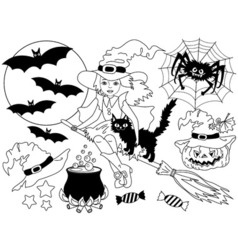Black and White Witch - Halloween Set vector