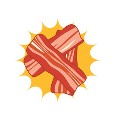 breakfast icon with hot bacon slices vector image