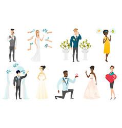 Bride and groom set vector