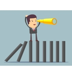 Businessman search in business strategy on domino vector