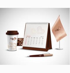 Calendar Corporate Identity Mockup Set vector