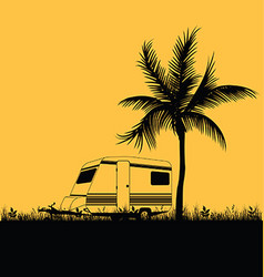 Camping in nature leisure with palm in colorful vector