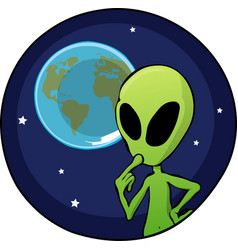 cartoon alien overlooking planet earth vector image