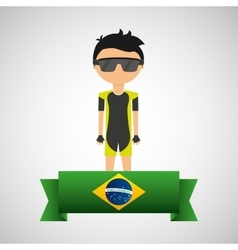 cartoon cycling player brazilian label vector image