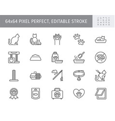 cat stuff line icons include vector image