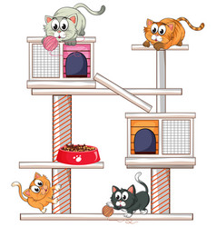 Cats playing on cat condo vector