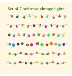 Christmas string lights set vector image