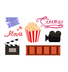Cinema and movie colorful set of filmmaking sign vector