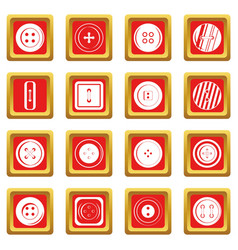 clothes button icons set red vector image