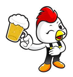 cock character holding a beer toast isolated on vector image
