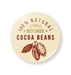 Cocoa round label with type design vector