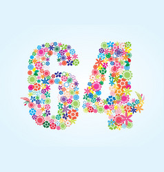 Colorful floral 64 number design isolated on vector