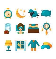 conceptual icon set of sleeping symbols of vector image