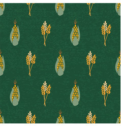 corn and wheat plants on textured green background vector image