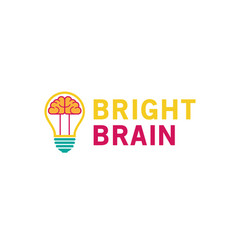 creative lamp bulb brain inside logo vector image