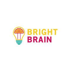 Creative lamp bulb brain inside logo vector