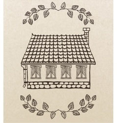 cute hand-drawn house vector image