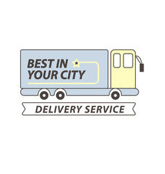 Delivery service truck or car flat icon vector