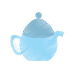 Drawing tea pot porcelan coffee vector