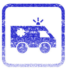 Emergency car framed textured icon vector