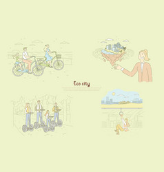 family riding bicycles and electrical scooters vector image