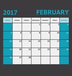 February 2017 calendar week starts on sunday vector