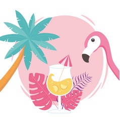 flamingo bird cocktail palm tree with exotic vector image
