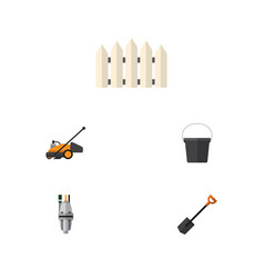 Flat icon farm set of spade wooden barrier pail vector