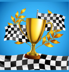 golden winner trophy realistic poster vector image