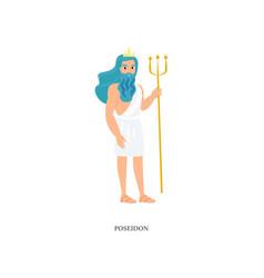 Greek god ocean and sea poseidon with blue hair vector