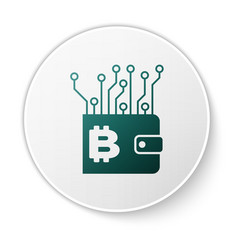 green cryptocurrency wallet icon isolated on white vector image