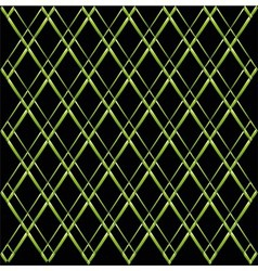 Green rhombus grid on black background vector