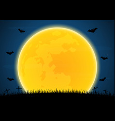 Halloween graveyard bat moon vector