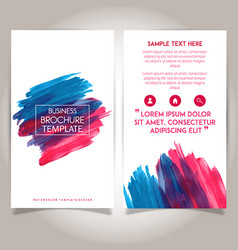hand drawn watercolor brochure template design vector image