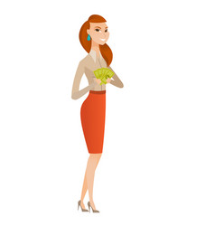 Happy caucasian business woman holding money vector