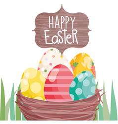 Happy easter whisker basket with eggs on grass vector
