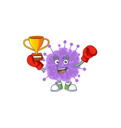 Happy face boxing winner coronavirus influenza vector