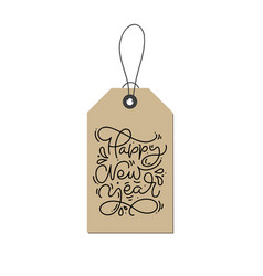 Happy new year calligraphic hand written monoline vector