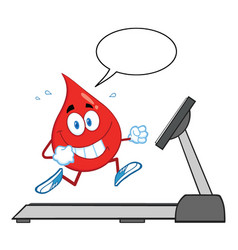 Healthy blood drop cartoon character running vector
