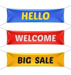 Hello welcome and big sale banners vector