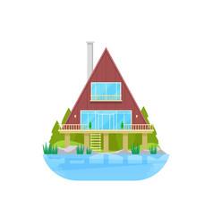 House at water bungalow at stilts at river lake vector