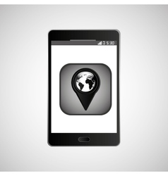 icon smartphone gps map location design vector image
