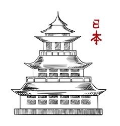 Japanese old pagoda tower sketch vector