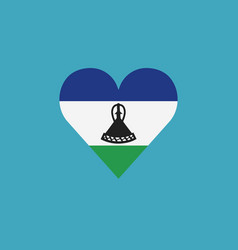 lesotho flag icon in a heart shape in flat design vector image