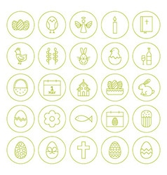 Line Circle Orthodox Easter Icons Set vector image