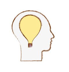 Line silhouette head with bulb inside vector