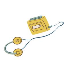 listening oldschool walkman with headphones vector image