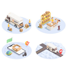 logistics shipment compositions set vector image