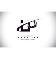 Lp l p letter logo design with swoosh and black vector