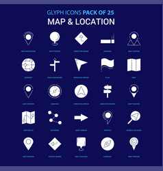 map and location white icon over blue background vector image